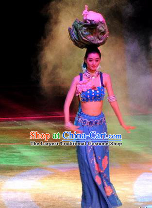 Chinese Oriental Apparel Dai Nationality Dance Blue Dress Stage Performance Costume and Headpiece for Women