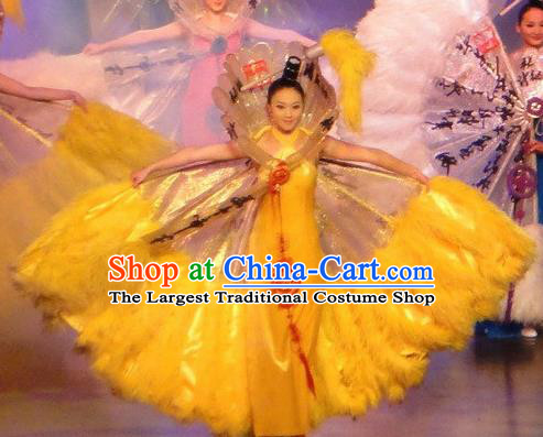Chinese Oriental Apparel Classical Dance Yellow Dress Stage Performance Costume and Headpiece for Women