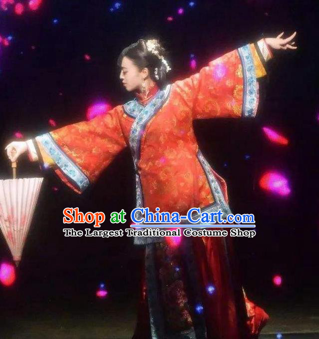 Chinese Mirroring Anren Classical Dance Red Dress Stage Performance Costume and Headpiece for Women