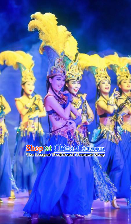 Chinese Oriental Apparel Indian Dance Blue Dress Stage Performance Costume and Headpiece for Women