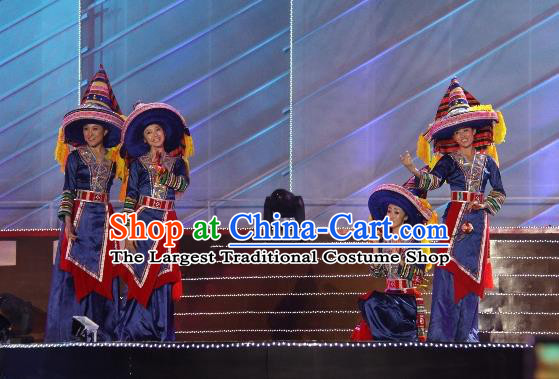Chinese The Dream Of The Beibu Gulf Yao Nationality Dance Blue Dress Stage Performance Costume and Headpiece for Women