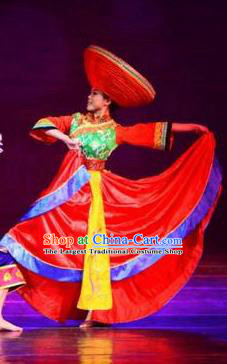 Chinese Dream Like Lijiang Zhuang Nationality Dance Wedding Red Dress Stage Performance Costume and Headpiece for Women