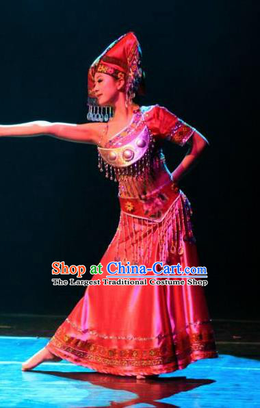 Chinese Dream Like Lijiang Zhuang Nationality Ethnic Dance Dress Stage Performance Costume and Headpiece for Women