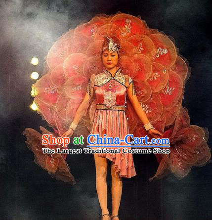 Chinese Dream Like Lijiang She Nationality Ethnic Dance Dress Stage Performance Costume and Headpiece for Women