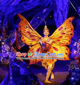 Chinese Xijiang Grand Ceremony Classical Butterfly Dance Dress Stage Performance Costume and Headpiece for Women