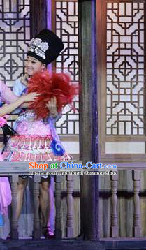 Chinese Border Town Miao Nationality Girl Dance Dress Stage Performance Costume and Headpiece for Women