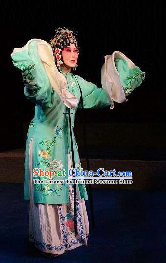 Chinese The Dream Of The Peony Pavilion Opera Du Liniang Dance Green Dress Stage Performance Costume and Headpiece for Women