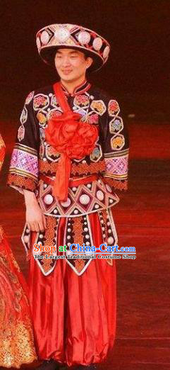 Chinese Charm Xiangxi Tujia Nationality Wedding Clothing Stage Performance Dance Costume for Men