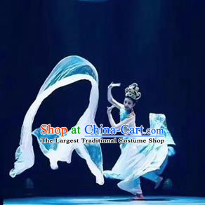 Chinese The Ancient Dunhuang Music Theatre Classical Dance Dress Stage Performance Costume and Headpiece for Women