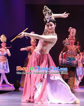 Chinese The Ancient Dunhuang Music Theatre Flying Apsaras Classical Dance Pink Dress Stage Performance Costume and Headpiece for Women