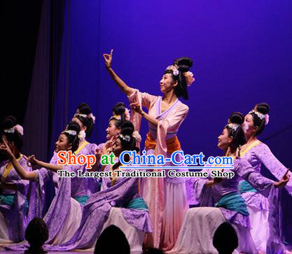 Chinese The Ancient Dunhuang Music Theatre Classical Dance Purple Dress Stage Performance Costume and Headpiece for Women