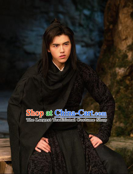 Ever Night Chinese Ancient Drama Tang Dynasty Swordsman Ning Que Black Costumes for Men