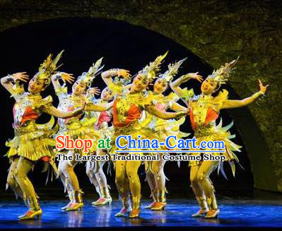 Chinese Golden Mask Dynasty Dance Short Dress Stage Performance Costume and Headpiece for Women