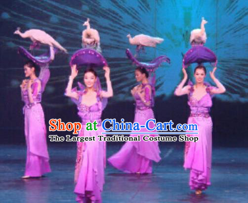 Chinese Golden Mask Dynasty Classical Dance Purple Dress Stage Performance Costume and Headpiece for Women