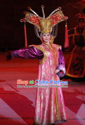 Chinese Dragon Phoenix Dance Mongol Nationality Pink Dress Stage Performance Costume and Headpiece for Women