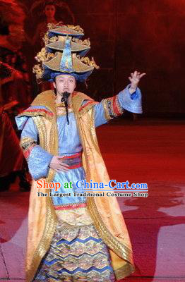 Chinese Dragon Phoenix Dance Mongol Nationality Blue Clothing Stage Performance Dance Costume for Men