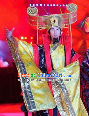 Chinese Dragon Phoenix Dance Han Dynasty Emperor Clothing Stage Performance Dance Costume for Men