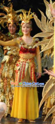Chinese Golden Mask Dynasty Dance Yellow Dress Stage Performance Costume and Headpiece for Women
