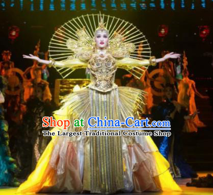 Chinese Oriental Apparel Dance Golden Dress Stage Performance Costume and Headpiece for Women