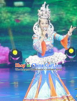 Chinese Wind Of Colorful Guizhou Dong Nationality Ethnic Dance Dress Stage Performance Costume and Headpiece for Women