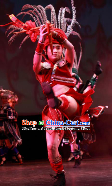 Chinese Wind Of Colorful Guizhou Dong Nationality Dance Clothing Stage Performance Dance Costume for Men