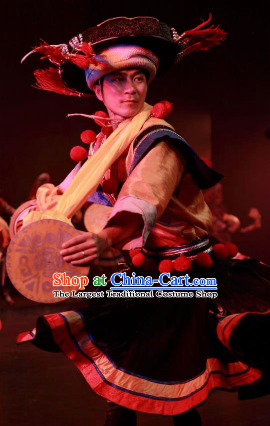 Chinese Wind Of Colorful Guizhou Yi Nationality Dance Clothing Stage Performance Dance Costume for Men