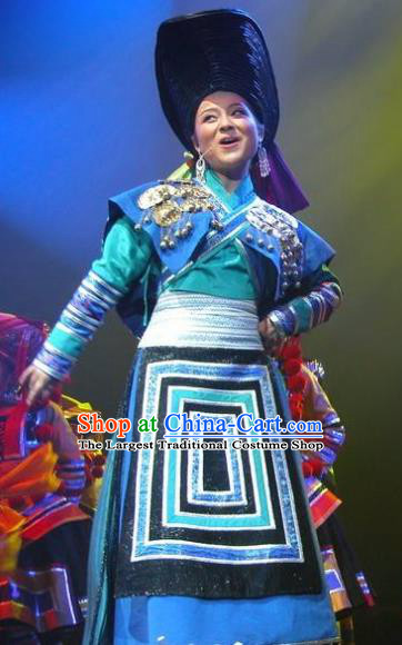 Chinese Wind Of Colorful Guizhou Yi Nationality Ethnic Dance Blue Dress Stage Performance Costume and Headpiece for Women