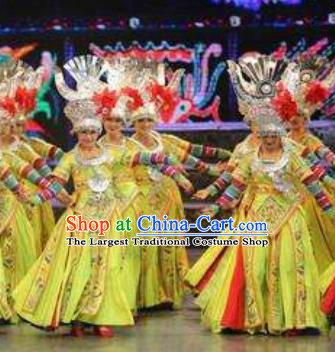 Chinese Wind Of Colorful Guizhou Miao Nationality Ethnic Dance Yellow Dress Stage Performance Costume and Headpiece for Women