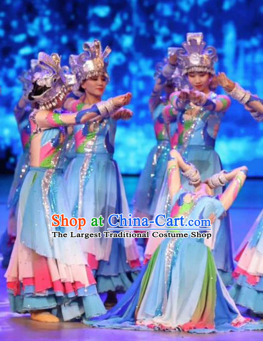 Chinese Wind Of Colorful Guizhou Miao Nationality Ethnic Dance Blue Dress Stage Performance Costume and Headpiece for Women