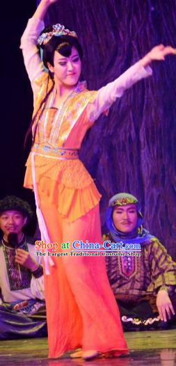 Chinese The Moon Rising On The Helan Mountain Hui Nationality Ethnic Dance Dress Stage Performance Costume and Headpiece for Women