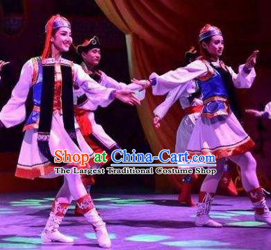 Chinese Saihan Tara Mongol Nationality Dance White Dress Stage Performance Costume and Headpiece for Women