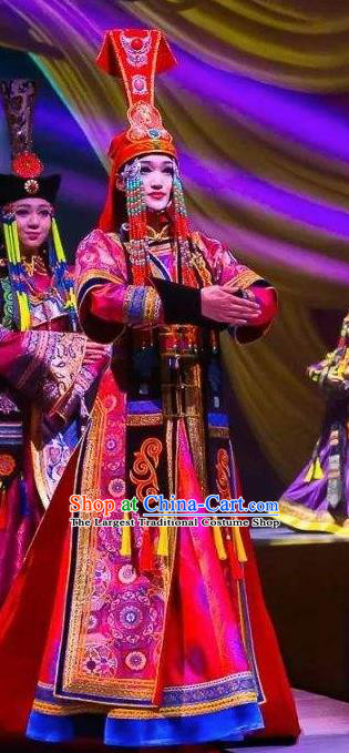 Chinese Saihan Tara Mongol Nationality Dance Wedding Dress Stage Performance Costume and Headpiece for Women