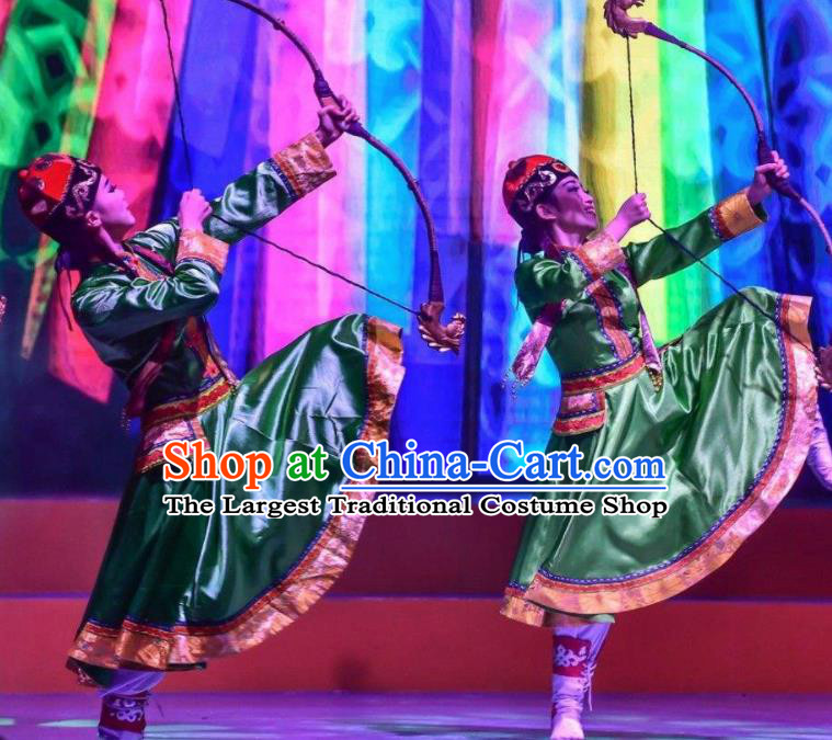 Chinese Saihan Tara Mongol Nationality Dance Green Dress Stage Performance Costume and Headpiece for Women