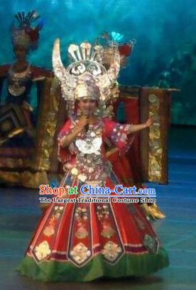 Chinese Wind Of Colorful Guizhou Miao Nationality Dance Red Dress Stage Performance Costume and Headpiece for Women