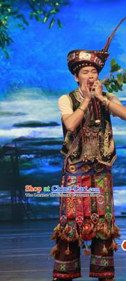 Chinese Wind Of Colorful Guizhou Miao Nationality Dance Brown Clothing Stage Performance Dance Costume for Men
