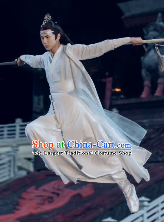 The Untamed Chinese Drama Ancient Swordsman Lan Zhan White Clothing Nobility Childe Wang Yibo Costumes for Men
