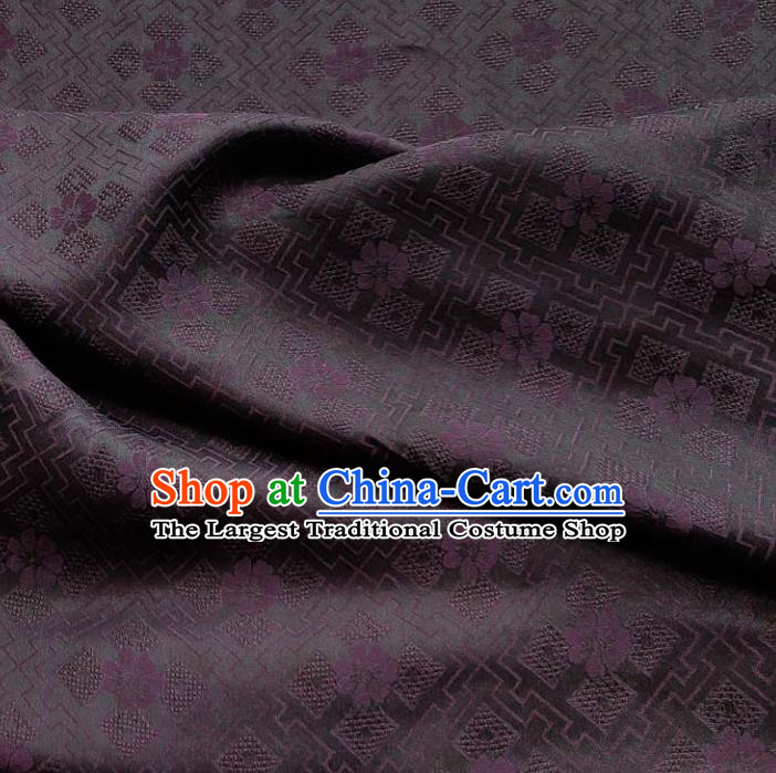 Traditional Chinese Classical Pattern Deep Purple Gambiered Guangdong Gauze Silk Fabric Ancient Hanfu Dress Silk Cloth