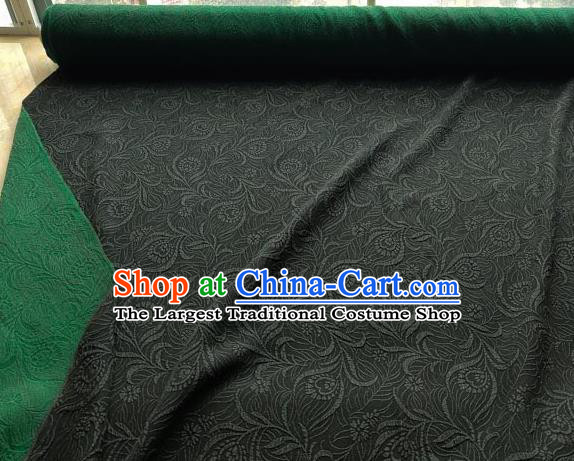 Traditional Chinese Classical Pattern Atrovirens Gambiered Guangdong Gauze Silk Fabric Ancient Hanfu Dress Silk Cloth