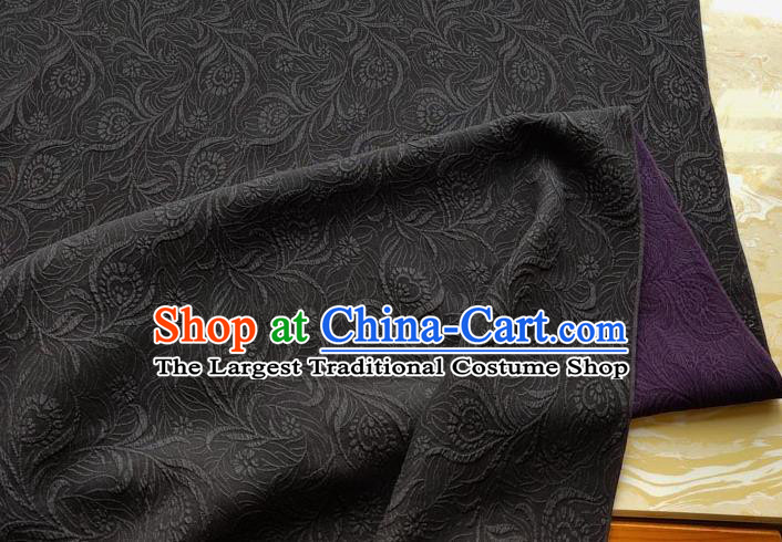 Traditional Chinese Classical Pattern Purple Gambiered Guangdong Gauze Silk Fabric Ancient Hanfu Dress Silk Cloth