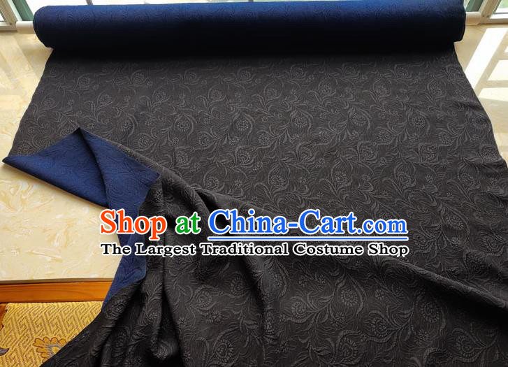 Traditional Chinese Classical Pattern Blue Gambiered Guangdong Gauze Silk Fabric Ancient Hanfu Dress Silk Cloth