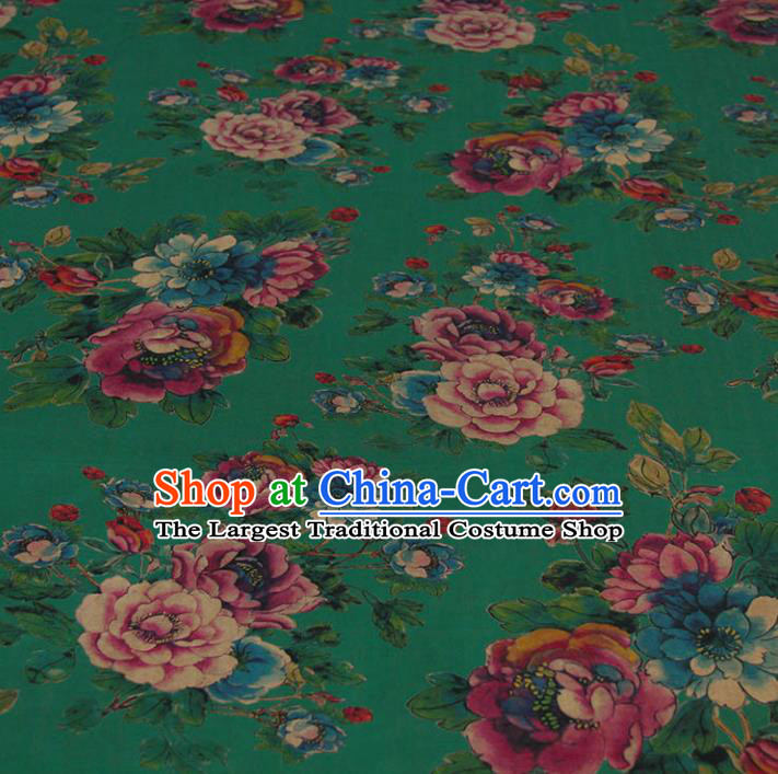 Traditional Chinese Classical Peony Pattern Deep Green Gambiered Guangdong Gauze Silk Fabric Ancient Hanfu Dress Silk Cloth