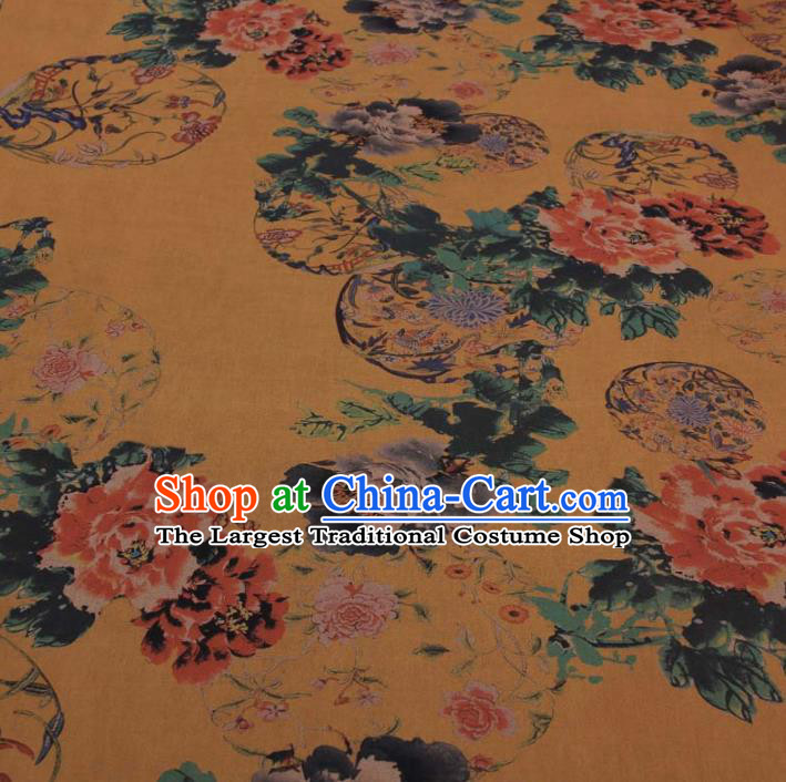 Traditional Chinese Classical Flowers Pattern Yellow Gambiered Guangdong Gauze Silk Fabric Ancient Hanfu Dress Silk Cloth
