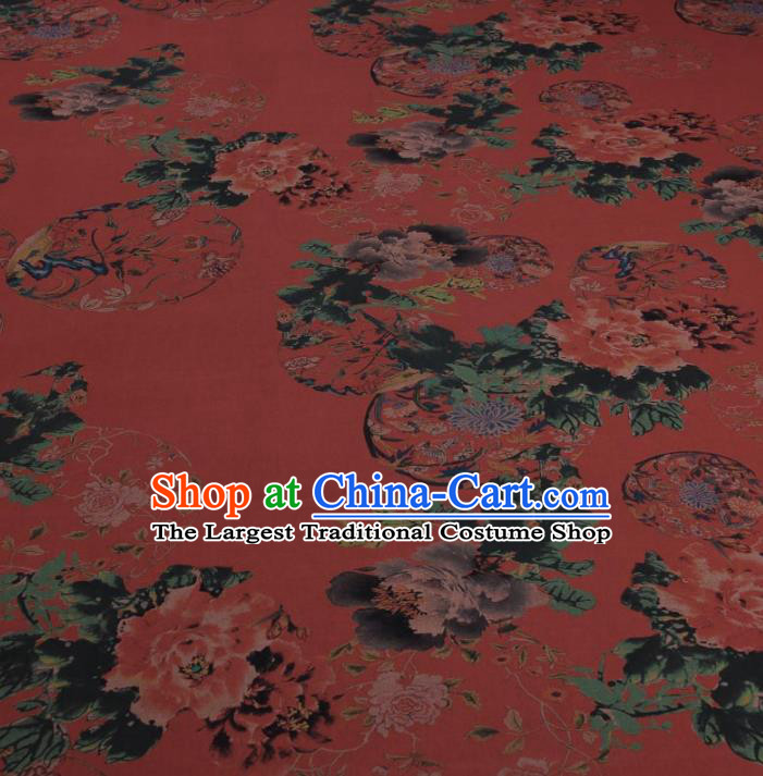Traditional Chinese Classical Flowers Pattern Rust Red Gambiered Guangdong Gauze Silk Fabric Ancient Hanfu Dress Silk Cloth