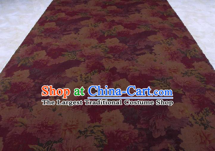 Traditional Chinese Classical Peony Pattern Purple Gambiered Guangdong Gauze Silk Fabric Ancient Hanfu Dress Silk Cloth
