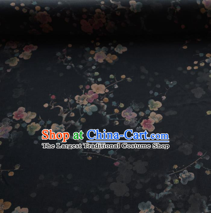 Traditional Chinese Classical Plum Blossom Pattern Black Gambiered Guangdong Gauze Silk Fabric Ancient Hanfu Dress Silk Cloth