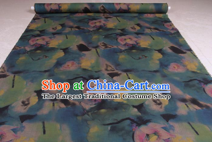 Traditional Chinese Classical Lotus Pattern Deep Blue Gambiered Guangdong Gauze Silk Fabric Ancient Hanfu Dress Silk Cloth