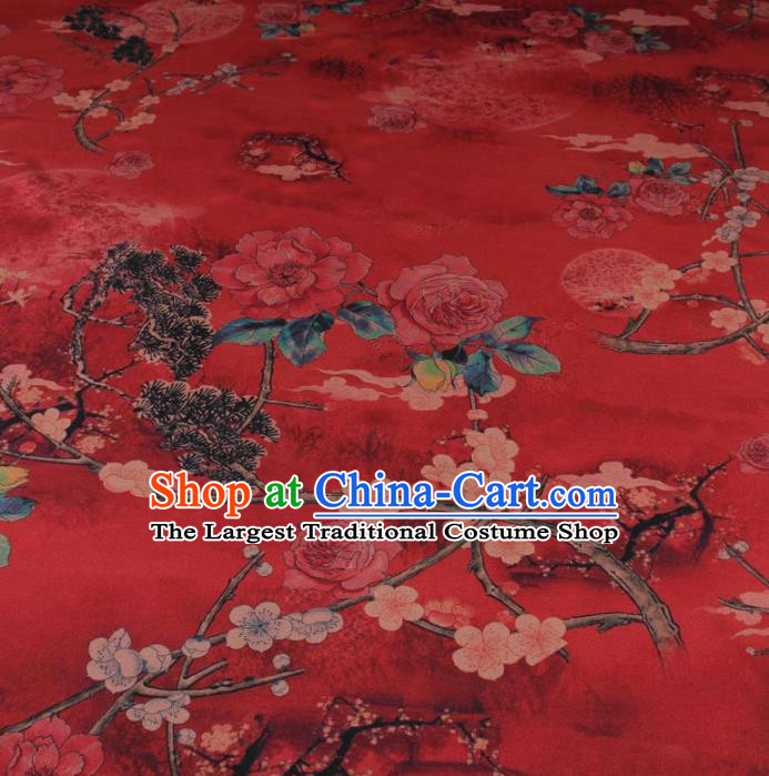 Traditional Chinese Classical Plum Peony Pattern Red Gambiered Guangdong Gauze Silk Fabric Ancient Hanfu Dress Silk Cloth