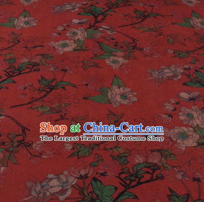 Traditional Chinese Classical Camellia Pattern Rust Red Gambiered Guangdong Gauze Silk Fabric Ancient Hanfu Dress Silk Cloth