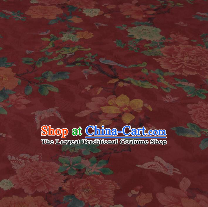 Traditional Chinese Classical Peony Birds Pattern Red Gambiered Guangdong Gauze Silk Fabric Ancient Hanfu Dress Silk Cloth