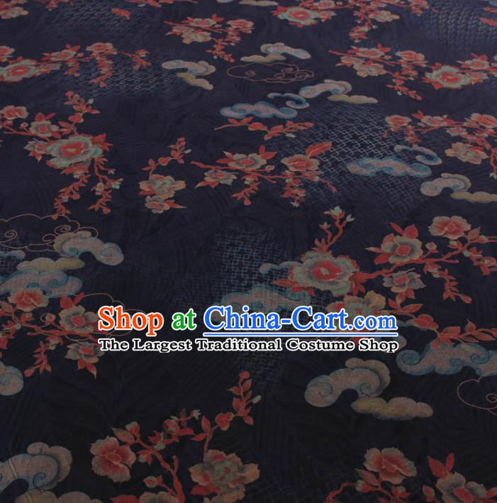 Traditional Chinese Classical Cloud Plum Pattern Navy Gambiered Guangdong Gauze Silk Fabric Ancient Hanfu Dress Silk Cloth